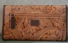 Relic by Fossil Brown Vegan Tooled Leather Trifold Wallet