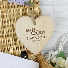 MR & MRS Hanging Wooden Heart Shaped Plaque Sign Wedding Anniversary Gift