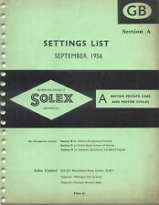 Solex Carburettors Settings List 1956 British Cars and Motor Cycles