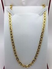 "10K Yellow Gold 22"" Hollow Italian Flat Mariner Chain Necklace 15.2 grams 6.2 mm"