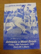 14/02/1986 Oldham Athletic v West Bromwich Albion [Friendly] (Paper Glossy Issue