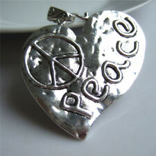 2  Large Antique Silver Love Heart Peace Charm Pendants Jewelry Findings For DIY