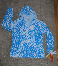 NWT Cathy Daniels blue white animal hoodie front pocket (S) zebra print MSRP $54