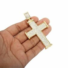 Mens 14k Gold Plated Iced Out Hip Hop Large Staple Cross Stainless Steel Pendant