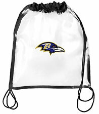 Baltimore Ravens CLear Drawstring Cinch Bag Backpack NFL Security Approved NWT