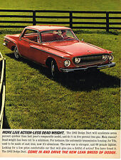 Vintage 1962 Magazine Ad Dodge Dart More Live Action Less Dead Weight Low Price