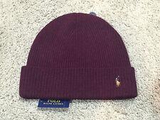 NEW Polo Ralph Lauren AGED WINE signature cuffed merino wool hat beanie BURGUNDY