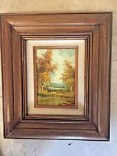 """LANDSCAPE OIL PAINTING ON WOOD BY LISTED ARTIST C.INNESS 12"""" X 14"""" FRAMED/MATTED"""