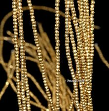 """3MM GOLD HEMATITE GEMSTONE GOLD FACETED ROUND 3MM LOOSE BEADS 15.5"""""""