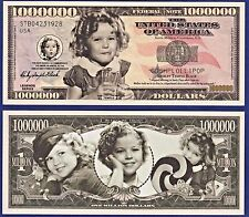 1 Shirley Temple Million Dollar Bill  Collectible-Novelty -Fake- Mpney- ITEM H 1