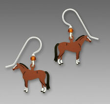 Sienna Sky Dressage Horse EARRINGS Sterling Silver Dangle Brown 1593 Gift Boxed