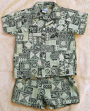 Baby Toddler 3T Hawaiian 2 Piece Outfit Shirt Shorts Green Black Tribal RJC