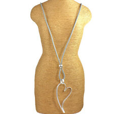 Lagenlook silver colour large open heart pendant grey leather long necklace