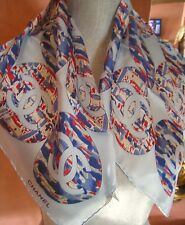 ~New Auth Chanel France scarf 100% Silk CC logos Abstract Baby Navy Blue Circles