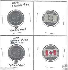 2015 CANADA 25 CENTS (2 Coins) - 50th Anniversary of the Canadian Flag FD USA
