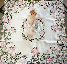 """Fancy Pink Rose Lace Table Topper 33""""  Doily Tablecloth  Cream Ivory Tablecloth"""