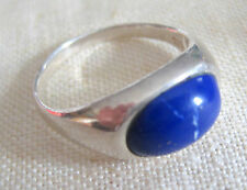 ESTATE STERLING SILVER ARTISAN RING SIZE 8 LAPIS LASULI HAND MADE MINIMALISTIC