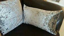 """NEXT ? Metallic OBLONG  STEEL SILVER Crushed Velvet 22in x 12""""  Cushion & Cover"""