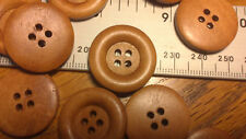 Job Lot 50 Caramel Coloured Round Buttons 23mm 4 Holes Dished Wood 1