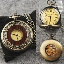 Classic Steampunk Mechanical Roman Skeleton Yellow Dial Windup Mens Pocket Watch