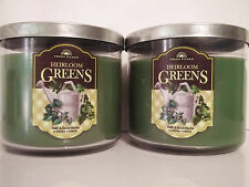 Bath Body Works Fresh Picked HEIRLOOM GREENS 3-wick Candles NEW x 2