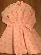 Vtg Pierre Cardin Mod Cloth Dress VOGUE Paris Originals sz M L Peach Floral