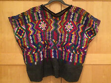 Authentic Guatemalan Handmade Embroidered Short Cropped Poncho Top - Boho Hippie