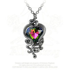 Alchemy Gothic Heart of Cthulhu Octopus Tentacles Faceted Crystal Pewter Pendant