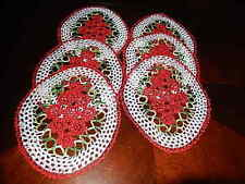 "6 PIECE HAND CROCHET FINE SILKY YARN NEW LACE 12"" X9' OVAL DOILIES CHRISMAS MATS"