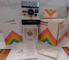 Polaroid SX-70 Rainbow Stripe OneStep Instant Camera Box Manual Flashbar TESTED