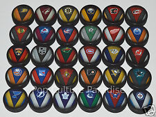 "HOCKEY PUCKS ALL 30 NHL TEAMS Complete Set ""Stitch"" Logo InGlasCo Puck Lot NEW"
