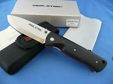 Real Steel Bushcraft II Folder Knife Black G-10 D2 Tool Steel Nylon Sheath 3716