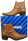 Mens New Tan Pull On Cowboy Western Ankle Boots Size 6 7 8 9 10 11 12