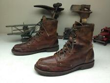 DISTRESSED BED STU BROWN LEATHER MOTORCYCLE MILITARY ENGINEER LACE UP BOOTS 9.5