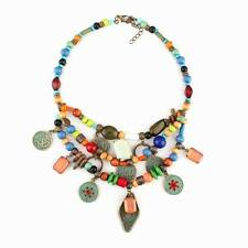 colorful wood bead vintage ethnic alloy coin pendant tibetan statement necklace