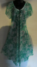 Dress Fits 1X 2X 3X 4X Plus Sundress Green White Floral Lace Sleeves NWT G015