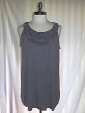 NEW FASHION BUG Size XL Tunic Top Shirt Grey Sparkle Beads