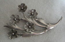 GORGEOUS Vintage 1940's HARRY S BICK & SON Sterling Silver Flower Brooch Pin HSB