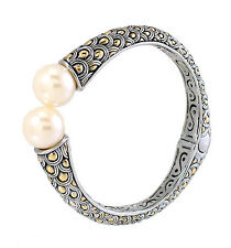 Pearl Cuff Bangle Bracelet Hinged 2 Tone Fish Scale Pattern