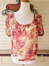 CRIMSON & CLOVER RED/PINK FLORAL SHEER BLOUSE TOP M