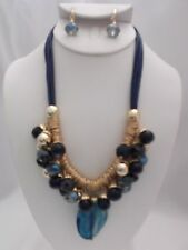 CLIP ON-Blue 6 cord necklace & earring set w/dangling blue beads & gold rings