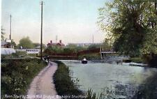 River Stort Bishops Stortford unused old postcard B&D Kromo Good condition