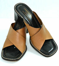 "DONALD J PLINER BROWN GENUINE LEATHER 2.3/4"" HEELS SHOES SIZE 6.5 M ITALY"