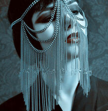 Gothic headdress headpiece punk rave new rock face chain harness REDUCED