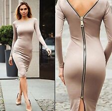 Abito aperto Nudo aderente Zip Cerimonia Ballo Party Cocktail Zipper Dress M