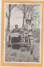Real Photo Postcard RPPC - Two Men in Motorcycle and Sidecar