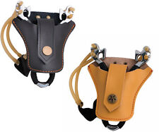 Cowhide Leather Slingshot Case Bag Pouch Catapult Holster Holder Wrist Brace