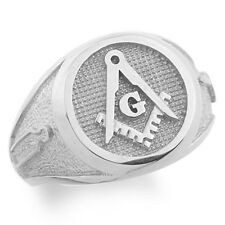 Mens Sterling Silver (925)  Masonic Ring Master Freemason Square and Compass