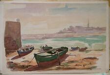 """Peinture Aquarelle PIERRE ABADIE LANDEL """" Au Port de Tréboul """" Bretagne PAL29"""