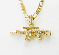 "AK-47 Rifle Pendant w/ 24"" Chain Gold Tone Mens Necklace HIp Hop Jewelry"